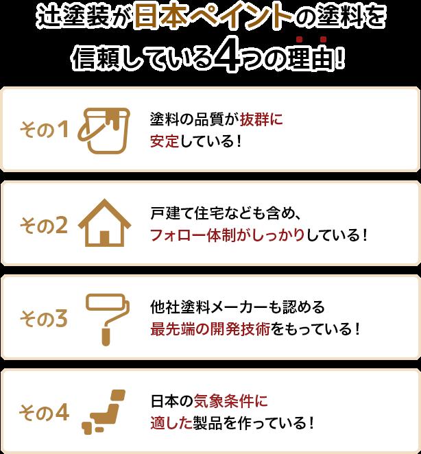 辻塗装が日本ペイントの塗料を信頼している4つの理由!