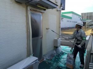 筑紫野市 ヤクルト工場 警備員室 塗装工事 施工中