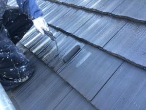 小郡市 田中様 社屋 屋根 塗装工事 上塗り施工中