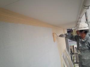 佐賀県 中田様邸 外壁塗装 中塗り施工中