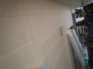 佐賀県 中田様邸 外壁塗装 上塗り施工中