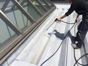 宗像市 竹田ビル 塗装工事 高圧洗浄施工中