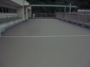 太宰府市 筑紫台高校 ルーフバルコニー 防水工事 長尺シート 完了