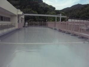 太宰府市 筑紫台高校 ルーフバルコニー 防水工事 ウレタン塗膜防水X-1工法 完了