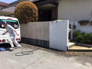 太宰府市 塗装工事 S様邸 外塀 高圧洗浄