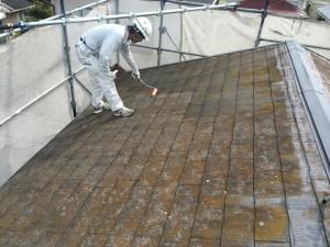 宇美町 塗装工事 K様 屋根塗装 カビ除去剤塗布