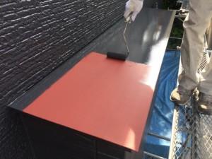 春日市 塗装工事 B様邸 板金塗装 中塗り施工中
