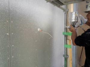 小郡市 Y様邸 新築 塗装工事 吹付タイル施工中