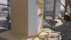 福岡市 東区 JA 塗装工事 煙突 上塗り1回目