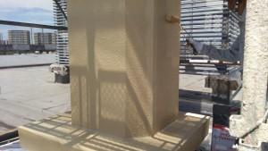 福岡市 東区 JA 塗装工事 煙突 上塗り2回目