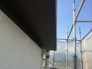 筑紫野市 塗装工事 JA阿志岐支店 軒天 中塗り 完了