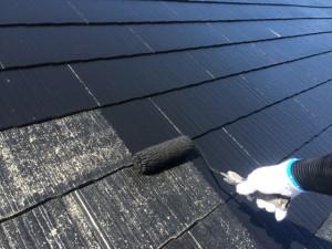 筑紫野市 F様邸 塗装工事 屋根 上塗り1回目
