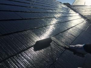 筑紫野市 F様邸 塗装工事 屋根 上塗り2回目