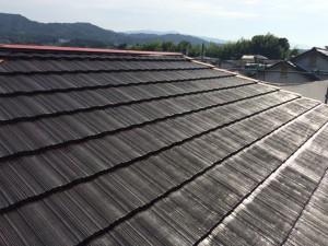 大野城市 塗装工事 I様邸 屋根 遮熱マイティーシリコン 1回目 完了