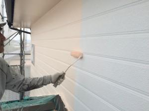 大野城市 塗装工事 I様邸 外壁 上塗り1回目
