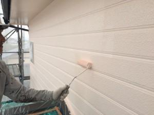 大野城市 塗装工事 I様邸 外壁 上塗り2回目