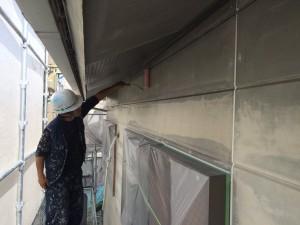小郡市 塗装工事 N様邸 外壁下塗り施工中