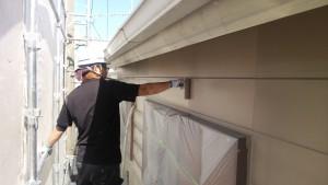 小郡市 塗装工事 N様邸 外壁上塗り 1回目