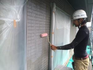 大野城市 塗装工事 M歯科医院 外壁下塗り