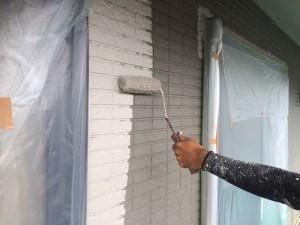 大野城市 塗装工事 M歯科医院 外壁中塗り