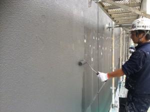 福岡市 博多区 塗装工事 レッドキャベツ月隈店 外壁一部塗装工事 中塗り施工中