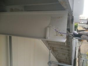 大野城市 塗装工事 岩田屋 階段塗装 下塗り 施工中
