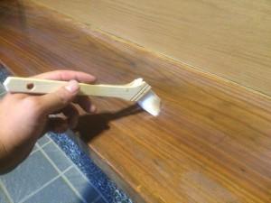 福岡市博多区 H様邸 塗装工事 玄関式台 クリア塗装 2回目
