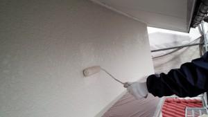 太宰府市 塗装工事 T様邸 外壁上塗り 施工中