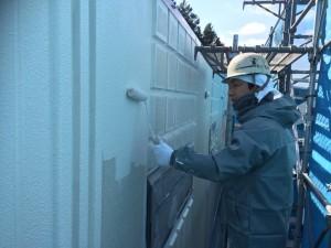 福岡市 早良区 徳栄寺 塗装工事 上塗り 施工中