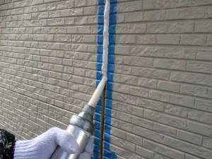 筑紫野市 塗装工事 美容室 シーリング充填中