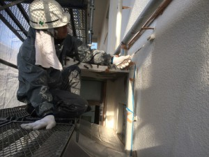 太宰府市 塗装工事 こひつじ保育園 外壁 下塗り中