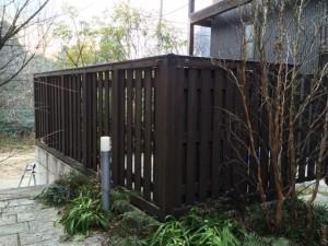福岡市早良区 塗装工事 徳栄寺 木塀 塗装 完了