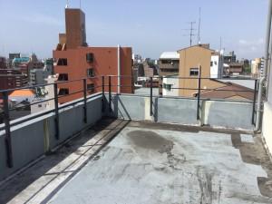 福岡市 天神 ライフビル 屋上 鉄部塗装 完了