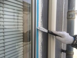 筑紫野市 塗装工事 大和ビル ALC外壁 シーリング 工事 ヘラ仕上げ施工中