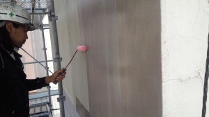 福岡市 中央区 Tビル 塗装工事 外壁 下塗り 水性カチオンシーラー