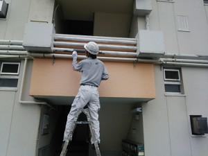 大野城市 塗装工事 Rマンション 配管 塗装工事 塗膜剥離箇所 タッチアップ補修