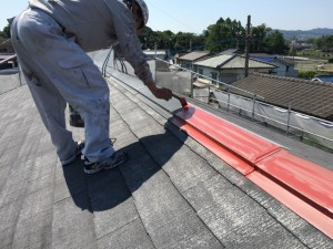 大野城市 塗装工事 Sアパート 屋根塗装 棟板金 錆止め