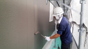 大野城市 塗装工事 Sアパート 外壁塗装 上塗り