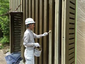 福岡県 糸島市 塗装工事 雷山の森 別荘 木部塗装 1回目