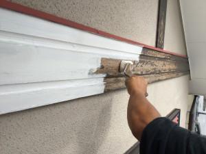 筑紫野市 T様邸 木部塗装 下塗り 施工中