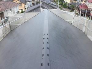 筑紫野市 T様邸 塗装工事 屋根塗装 上塗り1回目 完了