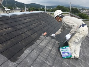 大野城市 塗装工事 K様邸 屋根塗装 下塗り施工中
