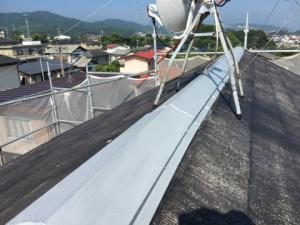 大野城市 塗装工事 K様邸 屋根塗装 棟板金 下塗り完了