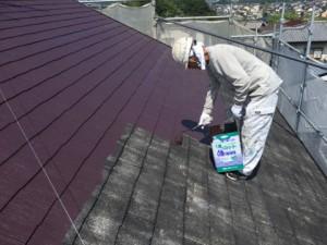 大野城市 塗装工事 K様邸 屋根塗装 上塗り1回目