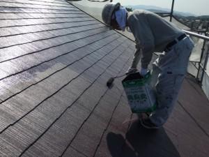 大野城市 塗装工事 K様邸 屋根塗装 上塗り2回目