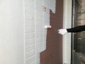 大野城市 塗装工事 K様邸 外壁 下塗り施工中