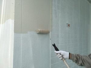 大野城市 塗装工事 K様邸 外壁 上塗り 1回目 クリーム色