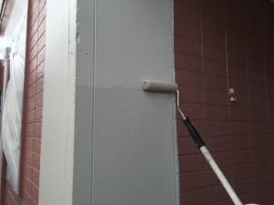大野城市 塗装工事 K様邸 外壁 上塗り 2回目 クリーム色