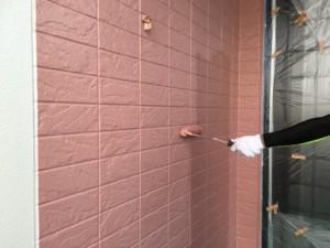 大野城市 塗装工事 K様邸 外壁 上塗り 2回目 ピンク系