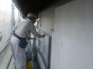 太宰府市 塗装工事 O様邸 外壁 中塗り施工中